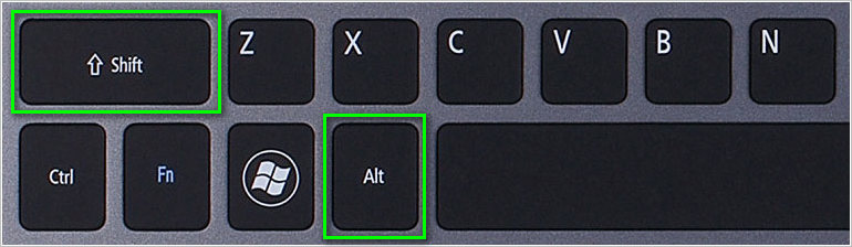 Горячие клавиши переключения языка