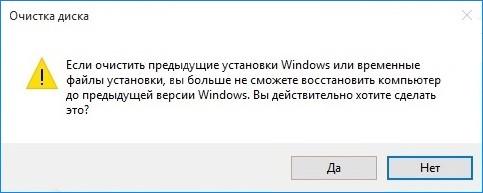 Предупреждение системы о последствиях удаления папки Windows.old