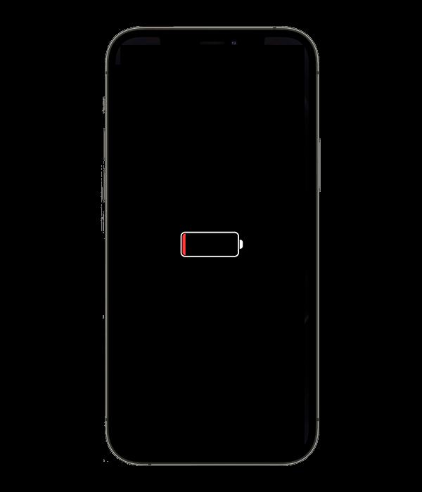 iPhone заряжается значок аккумулятора на черном фоне