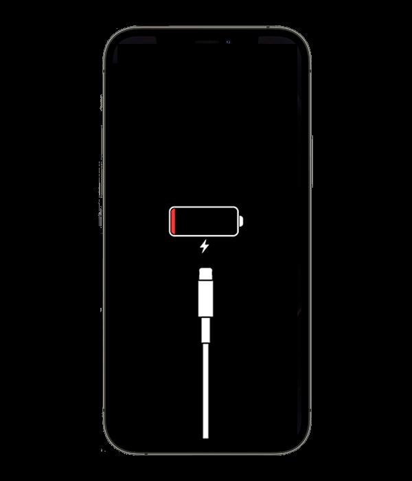iPhone не заряжается значок аккумулятора с lighting кабелем на черном фоне