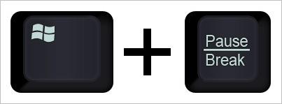 Горячая комбинация клавиш Windows+Pauze/Break