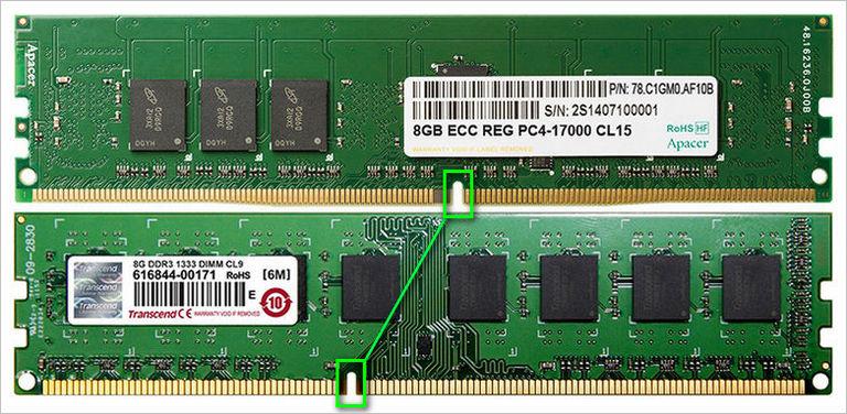 Конструктивные отличие оперативной памяти DDR4 и DDR3