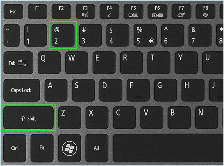 Стандартные клавиши для вставки знака собаки