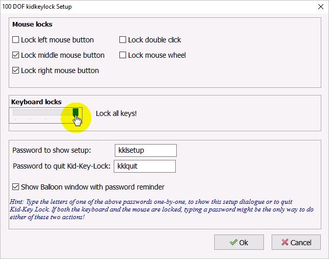 Отключение клавиатуры ноутбука программой «Kid Key Lock»